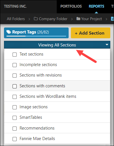 Screenshot showing the section filter in the Quire Report Editor